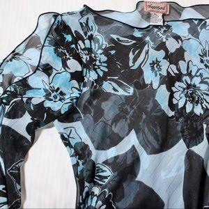 HeartSoul Sheer Blue Floral Shirt